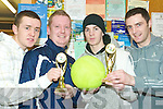Taking part in the Listowel Gardai V Garda Youth Division game of soccer at the Listowel Community Centre on Tuesday evening were l-r James McCarthy, Garda Danny McGuire (who won highest scorer), David Murphy (Man of the match) and Garda Aiden Carey.