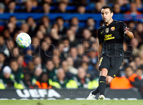 18.04.2012. Stamford Bridge, Chelsea, London. .Xavi Hernandez of  FC Barcelona .during the Champions League Semi Final 1st  leg match between Chelsea and Barcelona  at Stamford Bridge, Stadium on April 18, 2012 in London, England.....