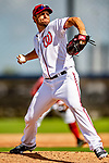 22 February 2019: Washington Nationals pitcher Max Scherzer on the mound during a Spring Training workout at the Ballpark of the Palm Beaches in West Palm Beach, Florida. Mandatory Credit: Ed Wolfstein Photo *** RAW (NEF) Image File Available ***