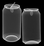 X-ray image of two open aluminum cans (white on black) by Jim Wehtje, specialist in x-ray art and design images.