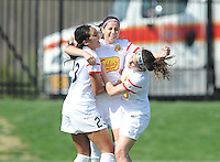 Boyds MD - April 13, 2014:  Vicky Losada (14) of the Western New York Flash celebrates his score with teammates. The Western New York Flash defeated the Washington Spirit 3-1 in the opening game of the 2014 season of the National Women's Soccer League at the Maryland SoccerPlex.