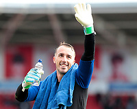 Fleetwood Town's Alex Cairns applauds the fans at the final whistle <br /> <br /> Photographer David Shipman/CameraSport<br /> <br /> The EFL Sky Bet League One - Doncaster Rovers v Fleetwood Town - Saturday 6th October 2018 - Keepmoat Stadium - Doncaster<br /> <br /> World Copyright &copy; 2018 CameraSport. All rights reserved. 43 Linden Ave. Countesthorpe. Leicester. England. LE8 5PG - Tel: +44 (0) 116 277 4147 - admin@camerasport.com - www.camerasport.com