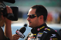 Sept. 26, 2008; Kansas City, KS, USA; Nascar Sprint Cup Series driver Juan Pablo Montoya during qualifying for the Camping World RV 400 at Kansas Speedway. Mandatory Credit: Mark J. Rebilas-