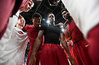 NWA Democrat-Gazette/CHARLIE KAIJO Arkansas Razorbacks players huddle during the Southeastern Conference Men's Basketball Tournament quarterfinals, Friday, March 9, 2018 at Scottrade Center in St. Louis, Mo.