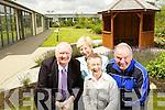 Pictured in the courtyard garden in the Tralee Community Hospital on Wednesday were Tim Guiheen, Mairead Fernane, Joan O'Malley, and John Rowan.