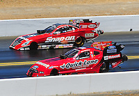 Jul. 18, 2010; Sonoma, CA, USA; NHRA funny car driver Bob Tasca III (near) defeats Cruz Pedregon during the Fram Autolite Nationals at Infineon Raceway. Mandatory Credit: Mark J. Rebilas-