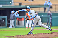 North Carolina Tar Heels starting pitcher Gianluca Dalatri (42) delivers a pitch during a game against the Clemson Tigers at Doug Kingsmore Stadium on March 9, 2019 in Clemson, South Carolina. The Tigers defeated the Tar Heels 3-2 in game one of a double header. (Tony Farlow/Four Seam Images)