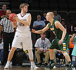 SIOUX FALLS, SD - MARCH 6:  Aaron Brennan #45 of IUPUI looks for someone to pass the ball to as A.J. Jacobson #21 of North Dakota State defends in the 2016 Summit League Tournament. (Photo by Dick Carlson/Inertia)