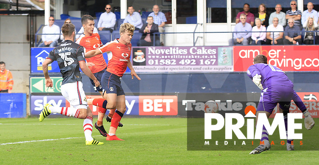 Cameron McGeehan of Luton Town scores his first of two goals to put his side in the lead during the Sky Bet League 2 match between Luton Town and Doncaster Rovers at Kenilworth Road, Luton, England on 24 September 2016. Photo by Liam Smith.