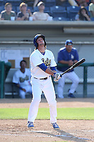 Dillon Moyer (5) of the Rancho Cucamonga Quakes bats during a game against the Bakersfield Blaze at LoanMart Field on June 1, 2015 in Rancho Cucamonga, California. Rancho Cucamonga defeated Bakersfield, 5-2. (Larry Goren/Four Seam Images)
