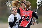 GER - Mainz, Germany, March 20: During the 1. Bundesliga Damen lacrosse match between Mainz Musketeers (white) and SC Frankfurt 1880 (red) on March 20, 2016 at Sportgelaende Dalheimer Weg in Mainz, Germany. Final score 7-12 (HT 3-5). (Photo by Dirk Markgraf / www.265-images.com) *** Local caption *** Carolina Mann #25 of Mainz Musketeers