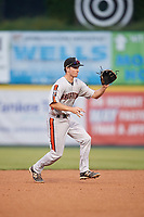 Aberdeen IronBirds shortstop Adam Hall (1) during a game against the Tri-City ValleyCats on August 27, 2018 at Joseph L. Bruno Stadium in Troy, New York.  Aberdeen defeated Tri-City 11-5.  (Mike Janes/Four Seam Images)
