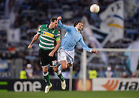 FUSSBALL   INTERNATIONAL   UEFA EUROPA LEAGUE   SAISON 2012/2013    Zwischenrunde Lazio Rom - Borussia Moenchengladbach      21.02.2013 Martin Stranzl (li, Borussia Moenchengladbach) gegen Sergio  Floccar (Lazio)