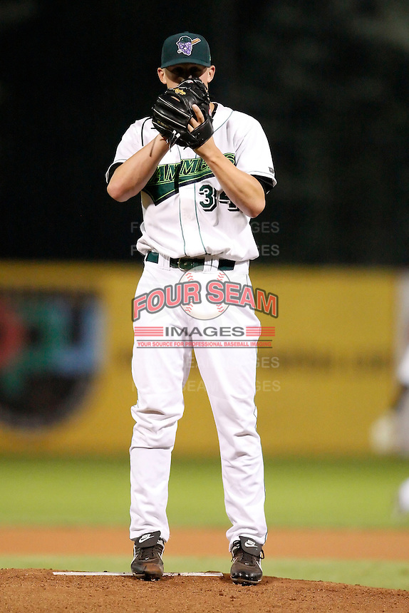 July 30, 2009:  Pitcher Dan Mahoney of the Jamestown Jammers delivers a pitch during a game at Russell Diethrick Park in Jamestown, NY.  The Jammers are the NY-Penn League Short-Season Single-A affiliate of the Florida Marlins.  Photo By Mike Janes/Four Seam Images