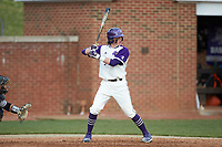 Trent Harris (5) of the High Point Panthers at bat against the Campbell Camels at Williard Stadium on March 16, 2019 in  Winston-Salem, North Carolina. The Camels defeated the Panthers 13-8. (Brian Westerholt/Four Seam Images)