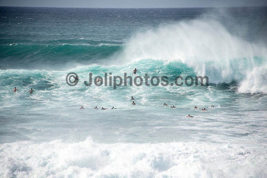 BANZAI PIPELINE, Oahu/Hawaii (Saturday, December 13, 2014)  Awash through at Pipeline after the contest was called off for the day. - The final stop of the 2014  World Championship Tour, the Billabong Pipe Masters in Memory of Andy Irons, was  called ON today in NW double overhead surf. <br /> Round 1 was completed as the swell continued to rise and the Easterly Trade winds increased in strength. Kelly Slater (USA) kept his World Title hopes alive after winning his heat against Reef MacIntosh (HAW). Jordy Smith(ZAF) was injured when he hit the reef at Backdoor.<br /> Conditions worsen around the end of the Round and the event was first put on hold then postponed for the day.  <br /> <br /> The Billabong Pipe Masters in Memory of Andy Irons will determine this year&rsquo;s world surfing champion as well as those who qualify for the elite tour in 2015. As the third and final stop on the Vans Triple Crown of Surfing Series  the event will also determine the winner of the revered three-event leg.<br /> <br />  Photo: joliphotos.com