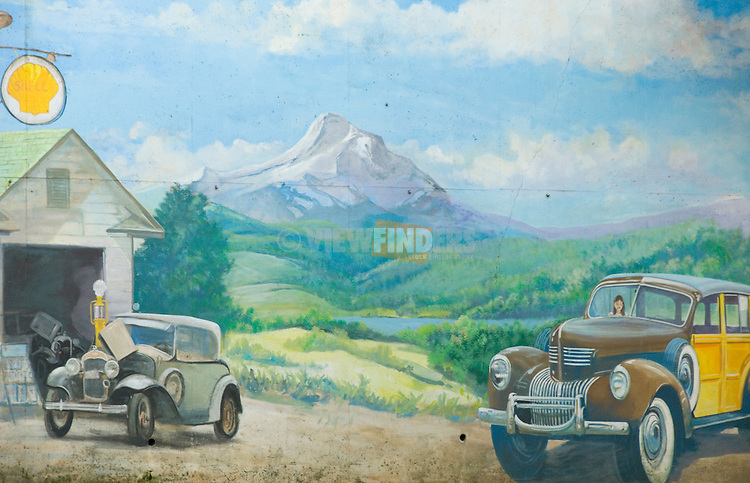 Painted old car scene with Mount Hood