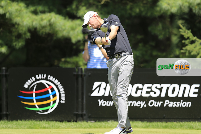 Chris Wood (ENG) tees off the 2nd tee during Saturday's Round 3 of the 2013 Bridgestone Invitational WGC tournament held at the Firestone Country Club, Akron, Ohio. 3rd August 2013.<br /> Picture: Eoin Clarke www.golffile.ie