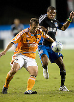 13 September 2008: Eddie Robinson of the Dynamo fights for the ball against Ryan Johnson of the Earthquakes during the game at Buck Shaw Stadium in Santa Clara, California.   San Jose Earthquakes tied Houston Dynamo, 1-1.