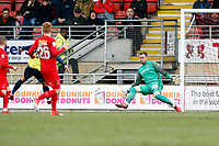 Ebbsfleets opening goalscorer Cory Whitely scores past Dean Brill and celebr`tes during Leyton Orient vs Ebbsfleet United, Vanarama National League Football at the Matchroom Stadium on 10th March 2018