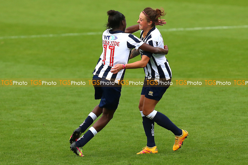 Ashlee Hinks of Millwall scores the first goal for her team  and celebrates (R) during Millwall Lionesses vs Sheffield FC Ladies, FA Women's Super League FA WSL2 Football at The Den on 9th October 2016