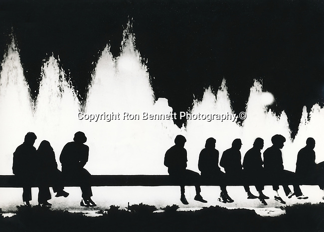 Los Angeles fountain with silhouette of people,