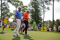 Jon Rahm (ESP) and Davis Love III (USA) depart the 11th tee  during round 3 of the Shell Houston Open, Golf Club of Houston, Houston, Texas, USA. 4/1/2017.<br /> Picture: Golffile | Ken Murray<br /> <br /> <br /> All photo usage must carry mandatory copyright credit (&copy; Golffile | Ken Murray)