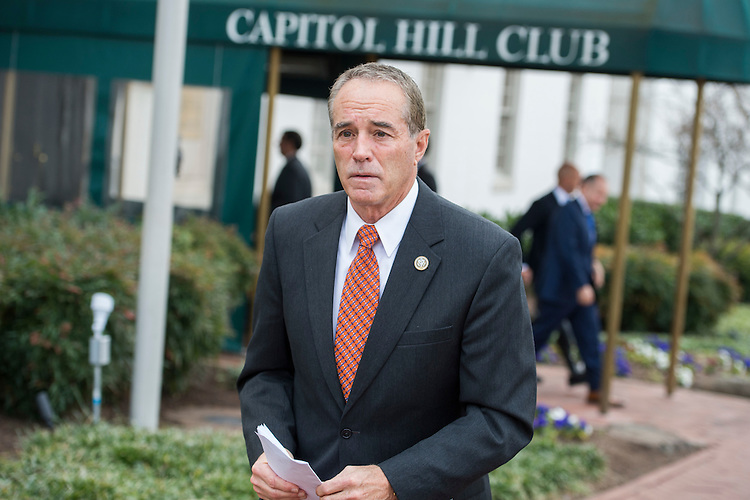 UNITED STATES - FEBRUARY 07: Rep. Chris Collins, R-N.Y., leaves the Capitol Hill Club after a meeting of the House Republican Conference, February 7, 2017. (Photo By Tom Williams/CQ Roll Call)