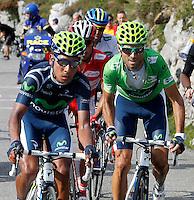Alberto Contador (w), Alejandro Valverde (g), Joaquin Purito Rodriguez (r) and Nairo Alexander Quintana during the stage of La Vuelta 2012 between La Robla and Lagos de Covadonga.September 2,2012. (ALTERPHOTOS/Paola Otero) /NortePhoto.com<br /> <br /> **CREDITO*OBLIGATORIO** <br /> *No*Venta*A*Terceros*<br /> *No*Sale*So*third*<br /> *** No*Se*Permite*Hacer*Archivo**<br /> *No*Sale*So*third*
