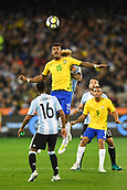 June 9th 2017, Melbourne Cricket Ground, Melbourne, Australia; International Football Friendly; Brazil versus Argentina; Jose Paulo Maciel Junior (Paulinho) of Brazil keeps his eye on the ball as it flies in mid air