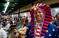 ELMONT, NY - JUNE 09: A fan wears a festive hat on Belmont Stakes Day at Belmont Park on June 9, 2018 in Elmont, New York. (Photo by Scott Serio/Eclipse Sportswire/Getty Images)