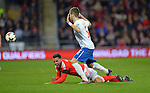 Hal Robson Kanu of Wales is challenged by Matija Nastasic of Serbia during the FIFA World Cup Qualifying match at the Cardiff City Stadium, Cardiff. Picture date: November 12th, 2016. Pic Robin Parker/Sportimage