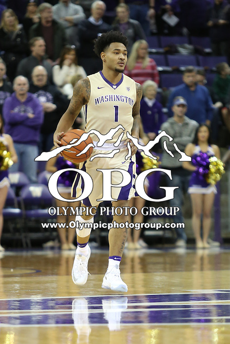 SEATTLE, WA - DECEMBER 18: Washington's David Crisp against Western Michigan.  Washington won 92-86 over Western Michigan at Alaska Airlines Arena in Seattle, WA.