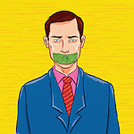 Illustrative image of businessman with dollar on his mouth representing bribery