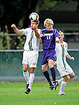 11 September 2009: University of Vermont Catamount midfielder/forward Patrick Alonis (23), a Sophomore from Palo Alto, CA, heads the ball from University of Portland Pilots' midfielder Michael Nielsen (12), a Sophomore from Sandy, Utah, in the first round of the 2009 Morgan Stanley Smith Barney Soccer Classic held at Centennial Field in Burlington, Vermont. The Catamounts and Pilots battled to a 1-1 double-overtime tie. Mandatory Photo Credit: Ed Wolfstein Photo