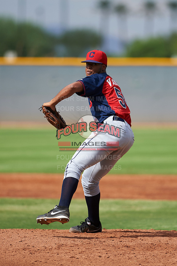 Cleveland Indians pitcher Gregori Vasquez (58) during an instructional league game against the Los Angeles Dodgers on October 15, 2015 at the Goodyear Ballpark Complex in Goodyear, Arizona.  (Mike Janes/Four Seam Images)