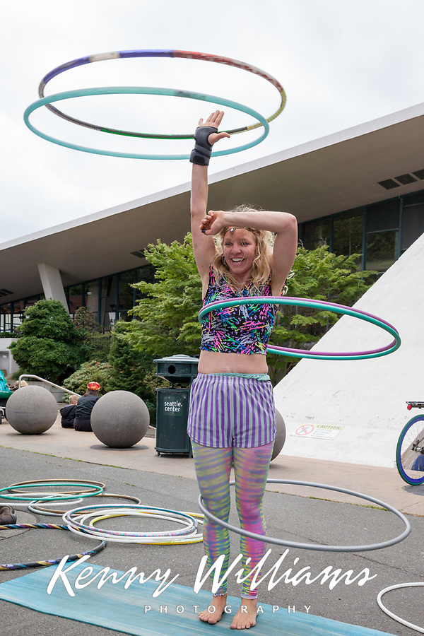 Hula hoop artist and street performer, Northwest Folklife Festival 2016, Seattle Center, Washington, USA.