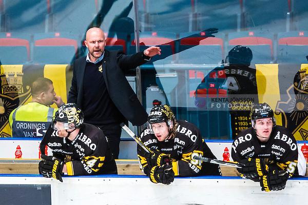 Stockholm 2014-03-29 Ishockey Kvalserien AIK - Malm&ouml; Redhawks  :  <br /> AIK:s tr&auml;nare Mattias Norstr&ouml;m gestikulerar<br /> (Foto: Kenta J&ouml;nsson) Nyckelord:  AIK Gnaget Malm&ouml; Redhawks portr&auml;tt portrait