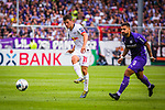 11.08.2019, Stadion an der Bremer Brücke, Osnabrück, GER, DFB Pokal, 1. Hauptrunde, VfL Osnabrueck vs RB Leipzig, DFB REGULATIONS PROHIBIT ANY USE OF PHOTOGRAPHS AS IMAGE SEQUENCES AND/OR QUASI-VIDEO<br /> <br /> im Bild | picture shows:<br /> Diego Demme (RB Leipzig #31) mit dem Pass in die Spitze, <br /> <br /> Foto © nordphoto / Rauch