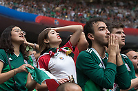 MOSCOW, RUSSIA - June 17, 2018: Mexico fans react during the 2018 FIFA World Cup group stage match between Germany and Mexico at Luzhniki Stadium.