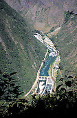 Urubamba Valley, Peru. View down into valley to Urubamba river and hydroelectric power plant.