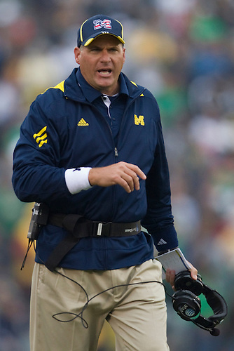 Michigan head coach Rich Rodriguez during NCAA football game between the Notre Dame Fighting Irish and the Michigan Wolverines.  Michigan defeated Notre Dame 28-24 in game at Notre Dame Stadium in South Bend, Indiana.