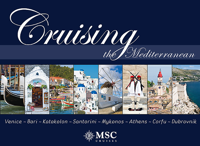 Cruising the Mediterrannean: Venice, Bari, Katakolon,Santorini, Mykonos, Athens, Corfu, Dubrovnik - Souvenir pictorial book, 80 pages, hard cover with full colour images that sell onboard vessels operated by MSC Cruises and follow the specific itinerary. Text in English, Italian, French, German, Spanish.<br />