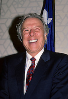 Montreal (QC) CANADA, April 1988 File Photo of<br /> <br /> Robert Campeau, at the Canadian Club of Montreal shortly after his purchase of (US retail chain) Federated Stores.<br /> <br /> <br /> In1980 he unsuccessfully sought control of a leading Canadian financial institution, the Royal Trust<br /> , gained control of the United States-based Allied Stores, the third largest retailer in the country, in 1986<br /> .He then took over Federated Department Stores (1988), which included the prestigious Bloomingdale's department store<br />  .To pay for these new assets he sold others and borrowed heavily. As a result of his debts, he was forced first to auction off Bloomingdale's and then to step down as head of his corporation, sharing control with Olympia & York.<br /> <br /> As of April 2007, the 83 year old Campeau is now officially broke after a 18 Million $ (Can) divorce from his German born wife Ilse Luebbert who now live in Salzbourg.<br /> <br /> photo (c)  Pierre Roussel - Images Distribution
