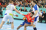 25.01.2013 Barcelona, Spain. IHF men's world championship, Semi-final. Picture show Daniel Sarmiento  in action during game between Spain vs Slovenia at Palau St. Jordi