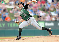 Starting pitcher Ryan Bradley (26) of the Augusta GreenJackets, Class A affiliate of the San Francisco Giants, in a game against the Greenville Drive on August 27, 2011, at Fluor Field at the West End in Greenville, South Carolina. Greenville defeated Augusta, 10-4. (Tom Priddy/Four Seam Images)