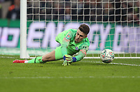 Chelsea's Kepa Arrizabalaga lets in Sergio Aguero's penalty during the shoot-out<br /> <br /> Photographer Rob Newell/CameraSport<br /> <br /> The Carabao Cup Final - Chelsea v Manchester City - Sunday 24th February 2019 - Wembley Stadium - London<br />  <br /> World Copyright © 2018 CameraSport. All rights reserved. 43 Linden Ave. Countesthorpe. Leicester. England. LE8 5PG - Tel: +44 (0) 116 277 4147 - admin@camerasport.com - www.camerasport.com
