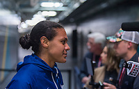 , FL - : Alana Cook #29 of the United States talks to the media during a game between  at  on ,  in , Florida.