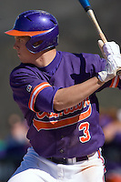 Jeff Schaus (3) of the Clemson Tigers at bat versus the Wake Forest Demon Deacons during the second game of a double header at Gene Hooks Stadium in Winston-Salem, NC, Sunday, March 9, 2008.