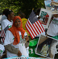 July 23, 2011 (Washington, DC)  A peace rally for Sudan was held across from the White House on July 23, 2011.  The rally, sponsored by The Fur Cultural Revival, Genocide Intervention Network/Save Darfur and Sudan Now, demanded action from the United States to protect the citizens of Sudan against alleged abuses by the Bashir government and promote peace in the region. (Photo: Don Baxter/Media Images International)